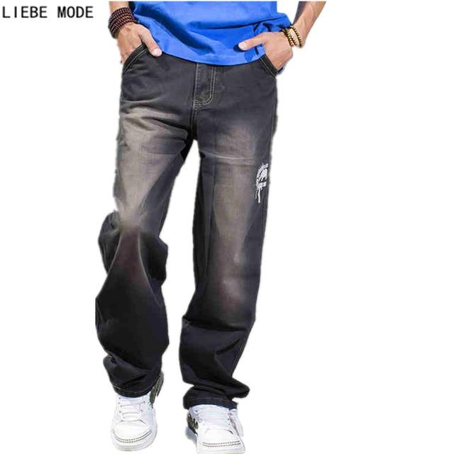 ec9a237dae3 2017 Brands Plus Size Teen Boys Loose Straight Jeans Men Hip Hop Denim  Baggy Jeans Skateboard Pants Black Big Size 40 42 44 46