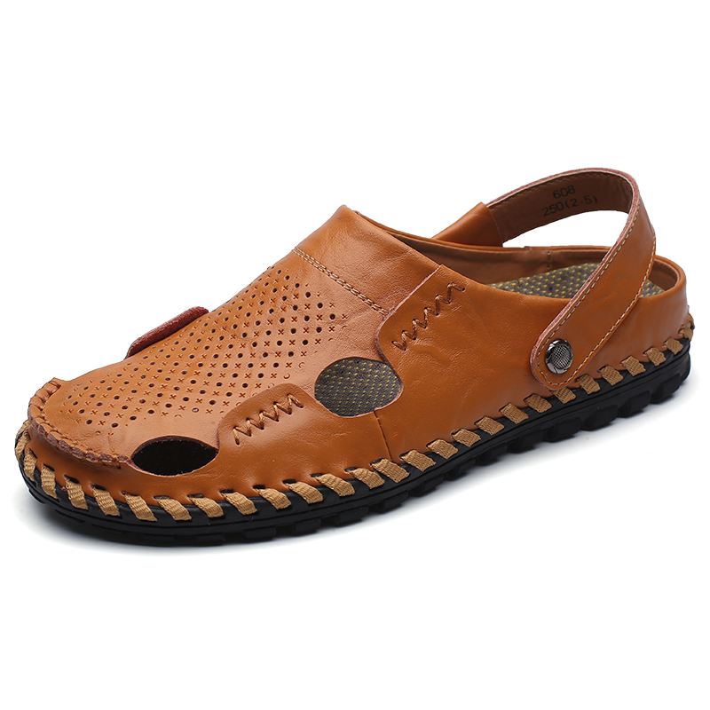 Fashion Men Solid Split Leather Flat Sandals Breathable Summer Male Beach Shoes Hollow Design Casual Comfortable Slipper Z161