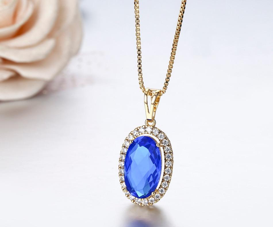 Big   Blue Crystal CZ Suspension Necklaces & Pendants Chain Necklace Women Gold Color Jewelry Collares Bijoux