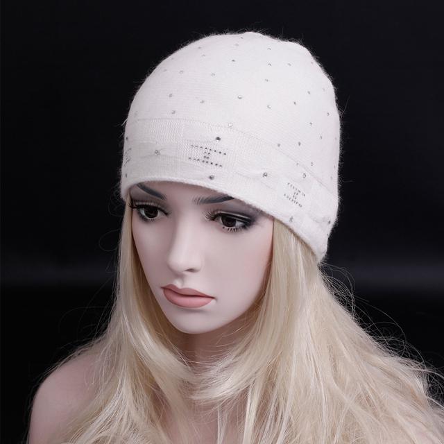 2016 Newst moda Inverno diamante cap Duplo Chapéu Gorros de tricô Grosso quente chapéu de lã de Tricô de alta qualidade caxemira das Mulheres chapéu