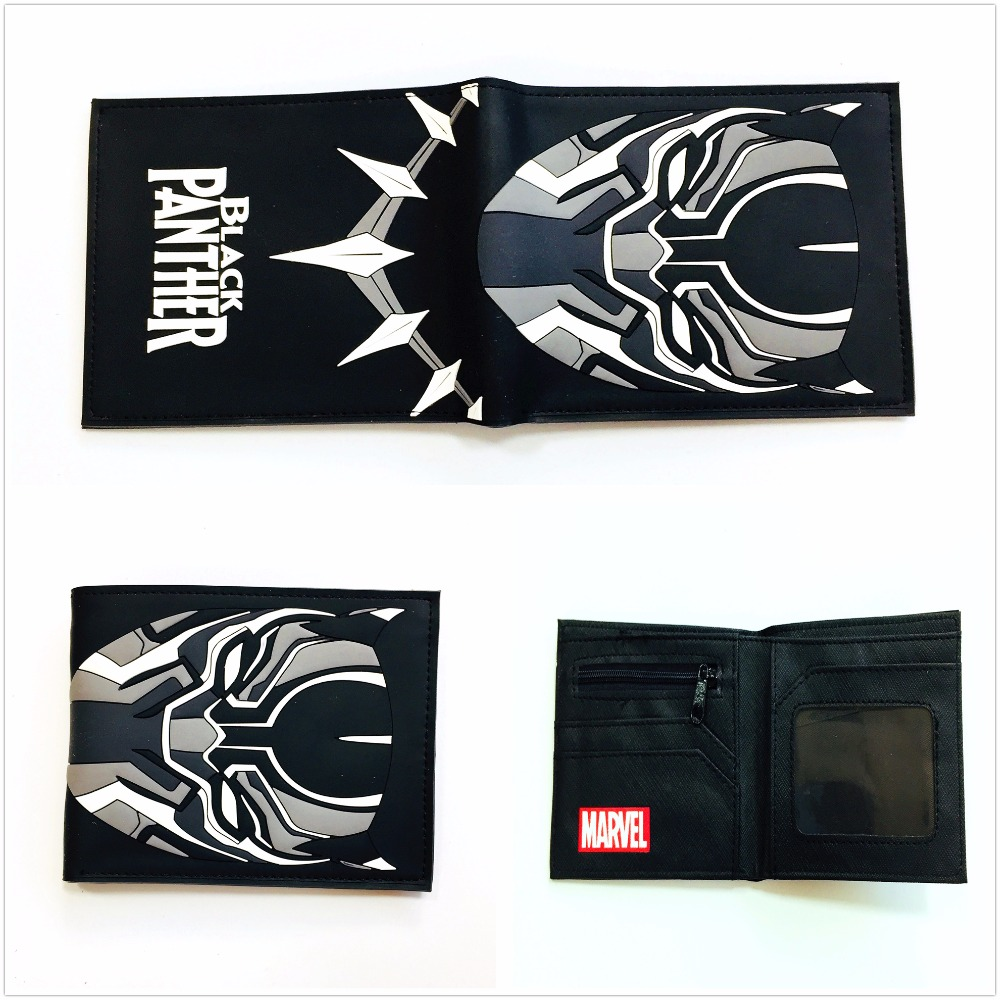 2018 Marvel anime comics BLACK PANTHER wallet short PU leather wallet credit card holder wallet W1097Q 2018 new comics the flash wallet unisex leather pu short folding purse billfold wallet credit card holder wallet w687