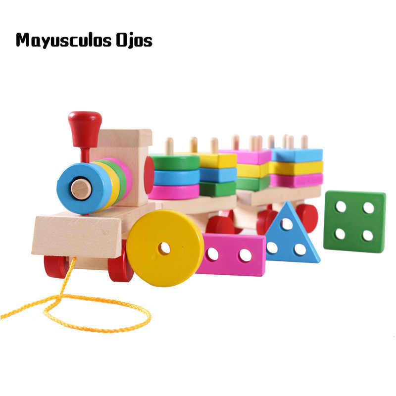 ZH 1PC Wooden Toy Train Three Building Blocks Dragging Small Train Children Shape Cognitive Toy