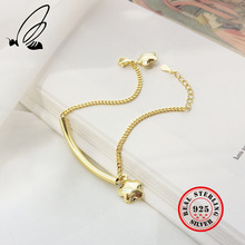 цена Real 925 Sterling Silver Bracelets For Women Bracelets With Star Pendants Gold Bracelet Silver Fine Jewelry Women Bracelet Gift онлайн в 2017 году