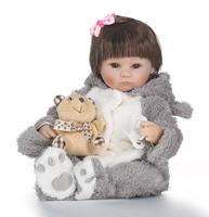 42cm Cotton Body Lifelike Newborn Baby Girl with Clothes Suit Soft Silicone Reborn Baby Doll Gift for Girls