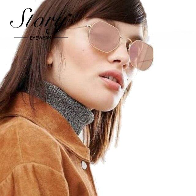 8b09926d133 STORY Aviator Sunglasses Women Men Famous Brand Designer Hot Rays Sale  Hexagon Small Frame Female