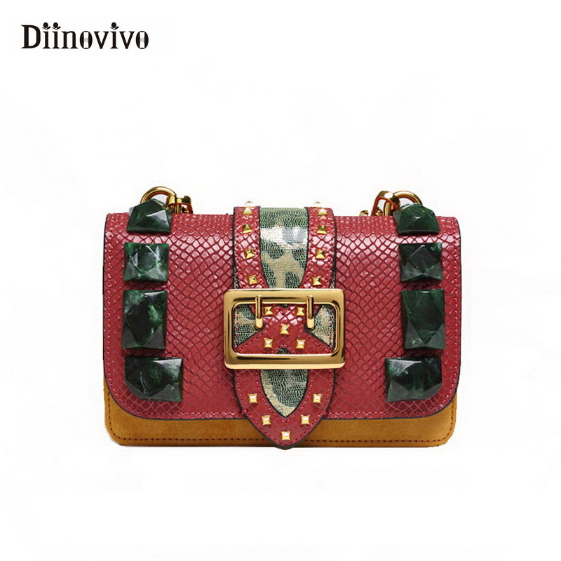 DIINOVIVO Genuine Leather Bags Women Emerald Luxury Handbag Rivet Fashion Purses and Handbags Serpentine Shoulder Bag WHDV0792-in Shoulder Bags from Luggage & Bags    1