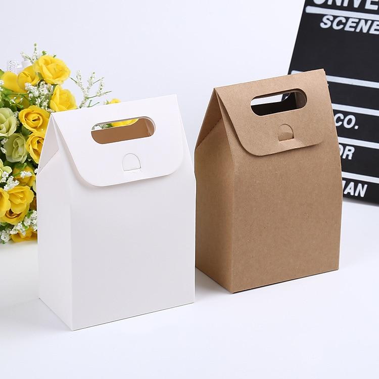 100pcs 10 6 16cm Gift Kraft Box Craft Bag With Handle Soap