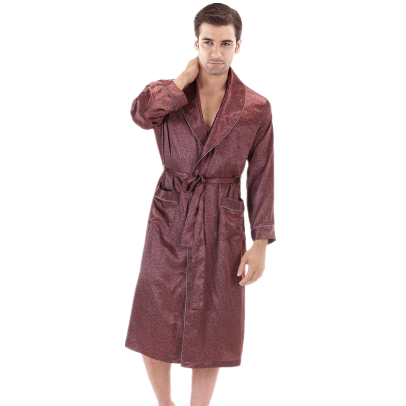 Long Sleeve Satin Dressing Gown Mens Bath Robe Silk Robe Satin Bathrobe Noble Men's Sleepwear Home Clothing Indoor Clothing