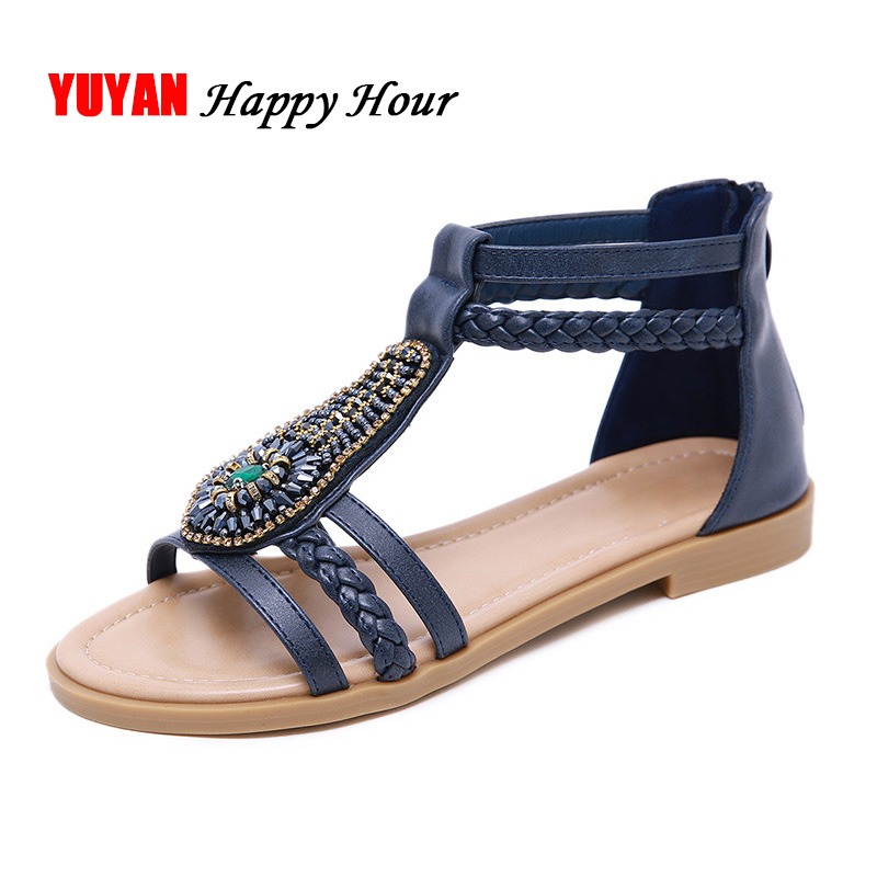 Bohemia Sandals For Women Beach Shoes Women's Sandals Flat Summer Shoes Big Size Fashion Ladies Rome Sandals A492