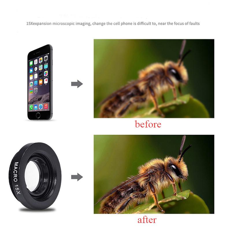 APEXEL 4 in 1 8X Telephoto Telescope Lens+Macro Lens+Wide Angle Lens+Fisheye Lens External Camera Lens For IOS Android Phone 4