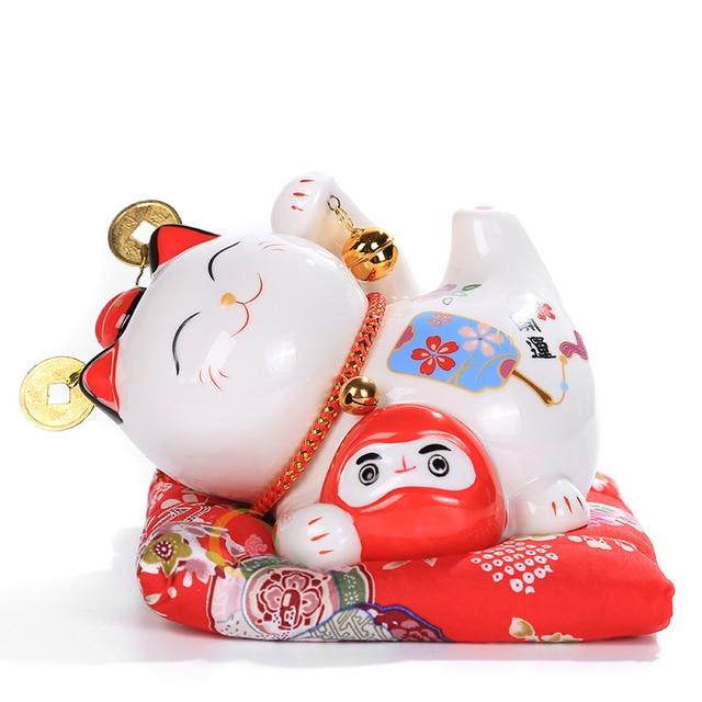 6 inch Maneki Neko Ceramic Lucky Cat Home Decor Porcelain Ornaments Cute Fortune Cat Money Box Fengshui Crafts 2