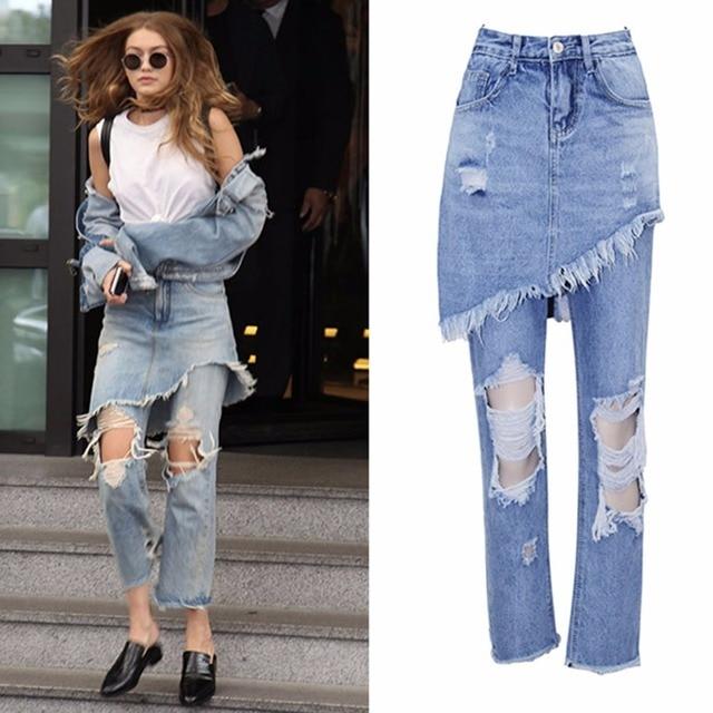 614cd1d9e52eb New 2018 Sexy Hole Blue Jeans Women Vintage High Waist Ripped Jeans For  Women Fake 2 Pieces Denim Boyfriend Pants Plus Size xxl