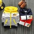 2016 meninos crianças mais grosso casaco casaco de outono e inverno nova Coreano moda stripe padrão urso jaqueta