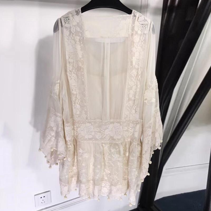 Pour A Robe Doux Mini Femmes Été V Col ligne Longues 2018 Lady À Parti New Manches Imprimé HIwPqxE