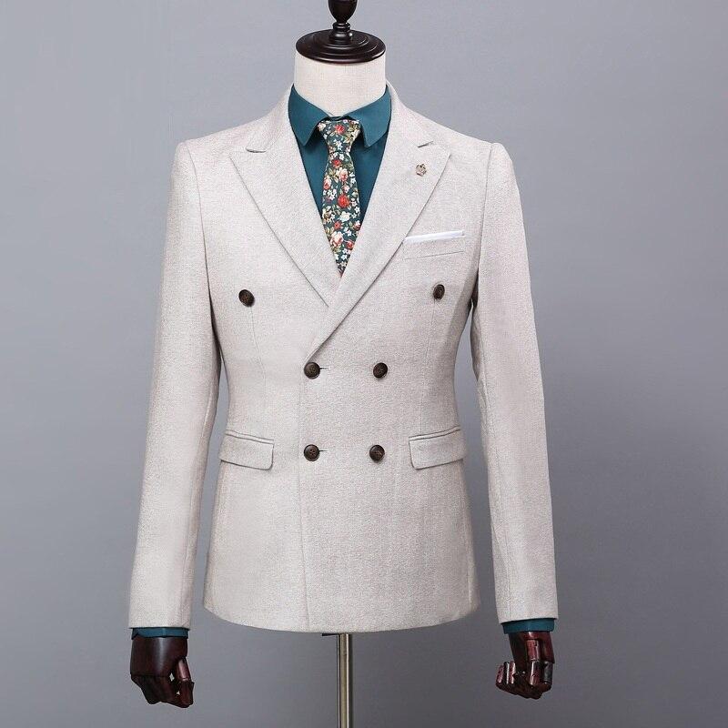 Высококачественный Костюм Джентльмена классический мужской тонкий синий клетчатый Повседневный Свадебный костюм удобный деловой повседн... - 5