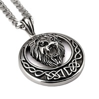 TOP Hip Hop Vintage Alloy Charms Black Lion Head Pendant Necklace For Men Luxury Stainless Steel