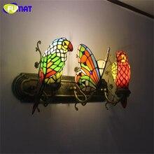 FUMAT Butterfly Wall Lamp Hand-made Art Parrot Stained Glass Shade Lights Indoor Light Corridor Bar Hotel Lights Wall Sconce