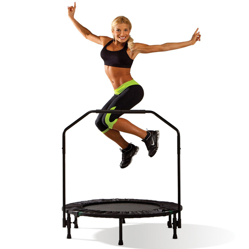 Indoor professional fitness adults children Trampoline with handrail stainless steel and PP net folding maximum load:150KG hexagonal jumping fitness trampoline with handrail
