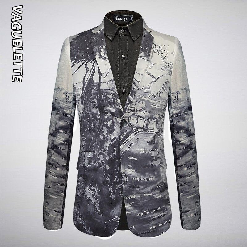 VAGUELETTE Italy Style Print Men Blazer Fashion Party Wear Pattern Jacket Coat Single Button Stage Clothing For Men M 4XL