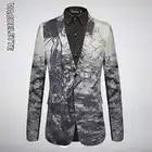 VAGUELETTE Italy Style Print Men Blazer Fashion Party Wear Pattern Jacket Coat Single Button Stage Clothing For Men M 4XL - 1