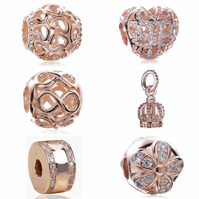 Authentique 925 Bijoux En Argent Sterling Rose Or Couleur Coeur Perles Fit  Charms Pandora Bracelets Pour