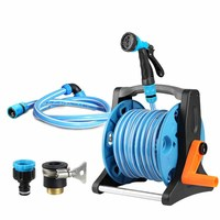 1/2 Inch 6 Mode Adjustable Squirt Gun Hose Reels Cart Garden Watering Irrigation Tools Portable Light Household Water Holder