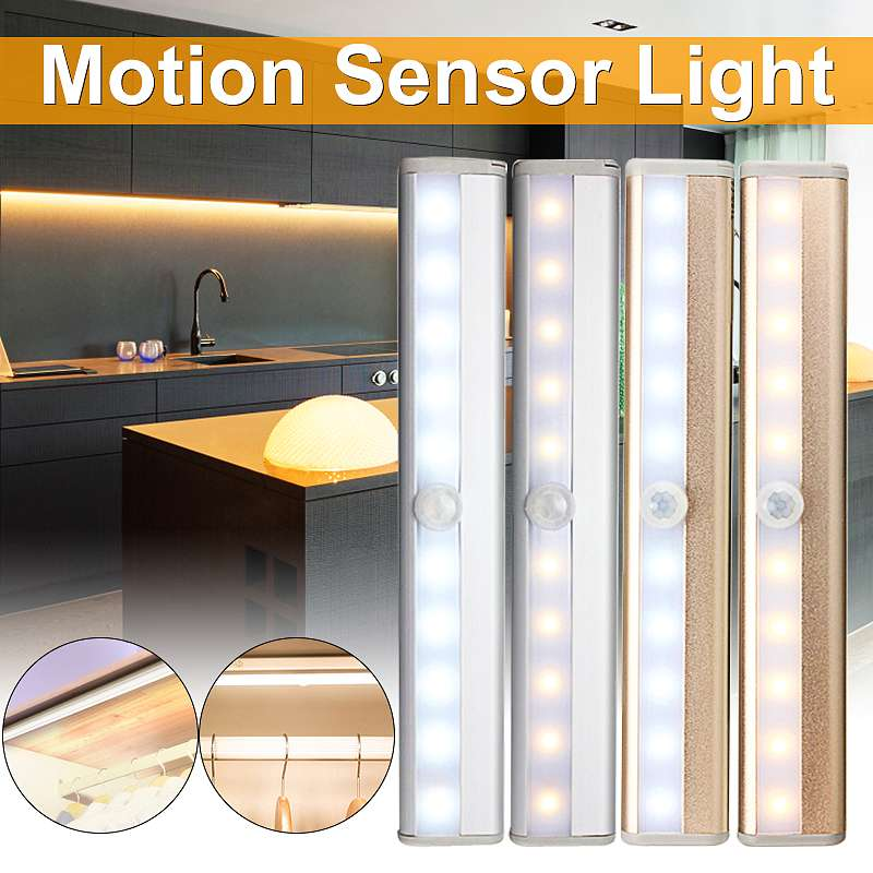 USB Rechargeable 10 LED Night Light PIR Motion Sensor Light Under Cabinet Wardrobe Closet Cupboard Night Lamp