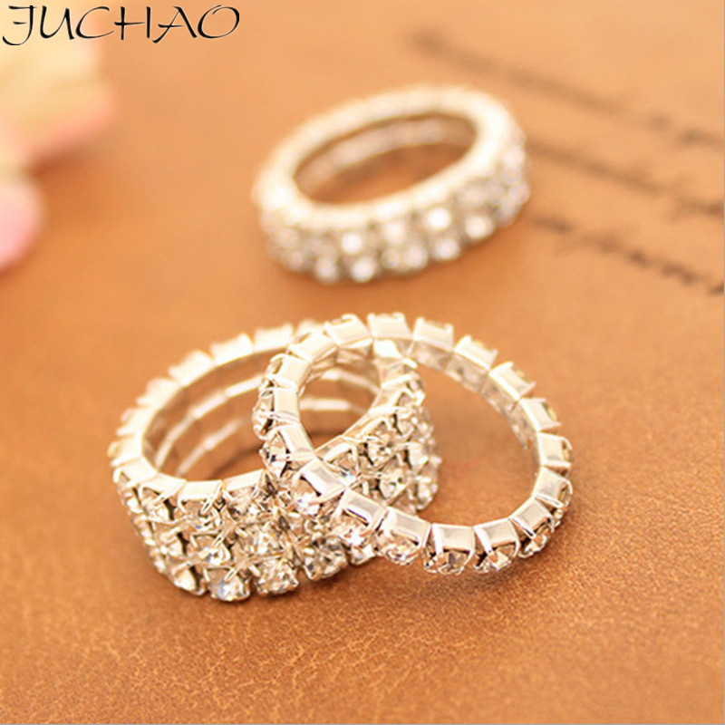 JUCHAO Rings Women Crystal Jewelry Ring 2019