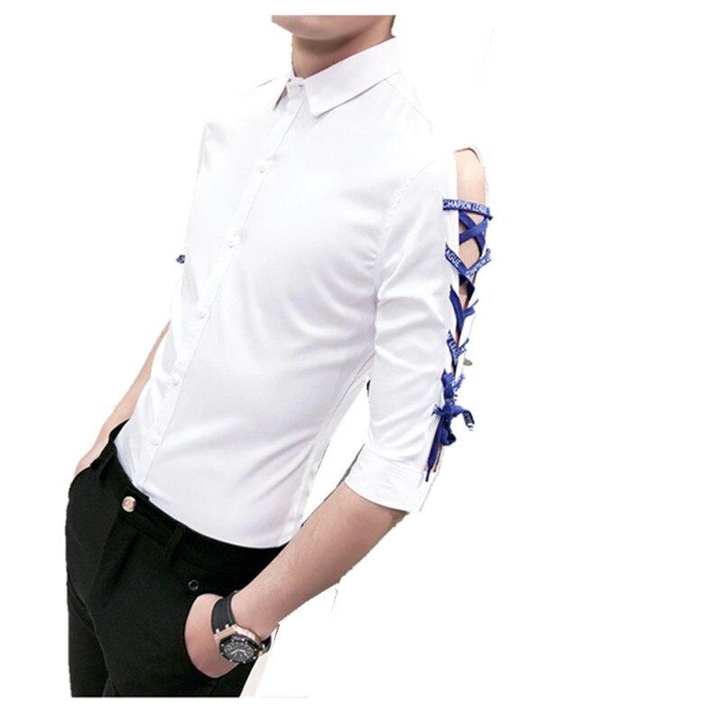 2018 Summer Shirt Men Fashion Slim Fit Ribbon Design Half Sleeve Tuxedo Mens Social Shirts Turn Down Collar Plus Size Shirt Man