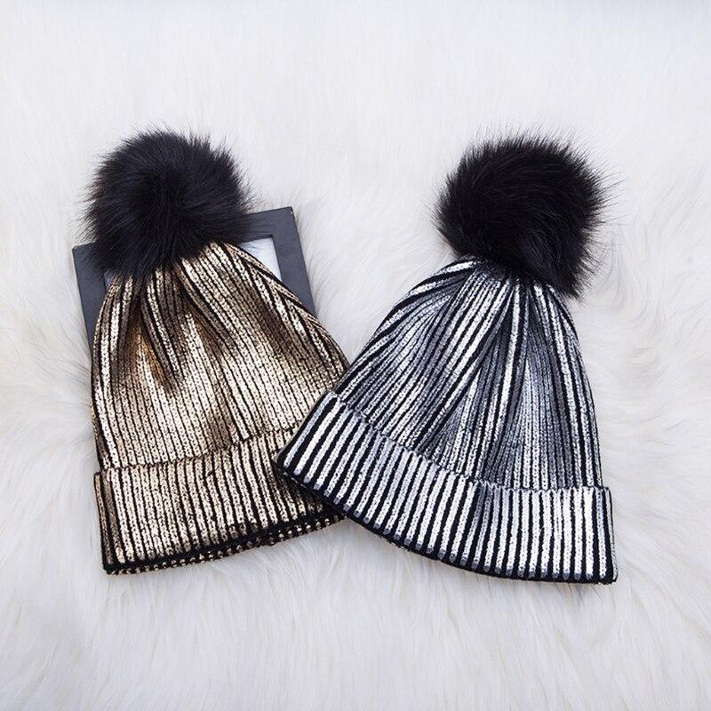 Women Girls Winter Warm Metallic Shiny Knitted Crochet   Beanie   Hat With Pom Pom