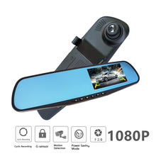 waterproof dual lens rearview mirror right display car camera auto cars dvr recorder video full hd1080p dash cam camcorder