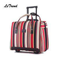Letrend Ultra light Hand Oxford Travel Bag Spinner Rolling Luggage Women Suitcase Wheels Computer Trolley 18 inch Carry On Trunk