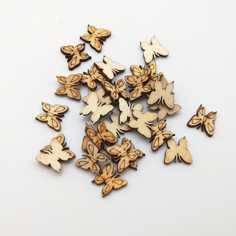 WISHMETYOU 50pcs Natural Wood Slices Leaves Flowers Butterfly Wooden Decor Scrapbooking Pattern Wood Crafts Home Accessories New in Wood DIY Crafts from Home Garden