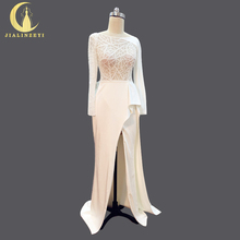JIALINZEYI Real Picture New Arrival Long Sleeves Sexy Top See Through Slit Satin Bridal Wedding Dresses wedding gown 2018
