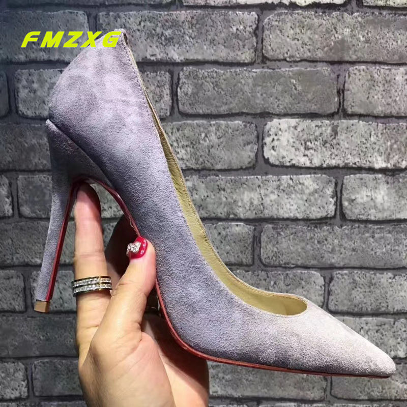 FMZXG Women Flock Heels High Genuine Leather Pumps Designers Shoes Pointed Toe Thin Heels Fashion Sexy Party Luxury Brand Shoes fletite top quality elegant embroidery 8 color women pumps pointed toe thin high heels 2018 new fashion luxury women shoes brand