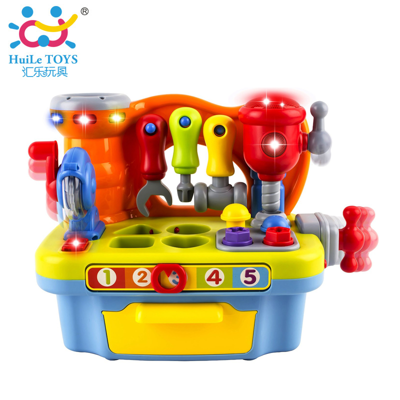 Musical Learning Pretend Play Tool Workbench Toy With Light / Music / Block / Tools, Fun Sound Effects & Light, Pretend Play Toy new 2016 pretend play toys medical kits doctor s bag playsets learning education toy set doctorm200o