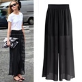 Women Wide Leg Pants Loose Style Sexy See Through Solid Color Black Casual Chiffon Wide Leg Pants 2017 New Arrival Trousers