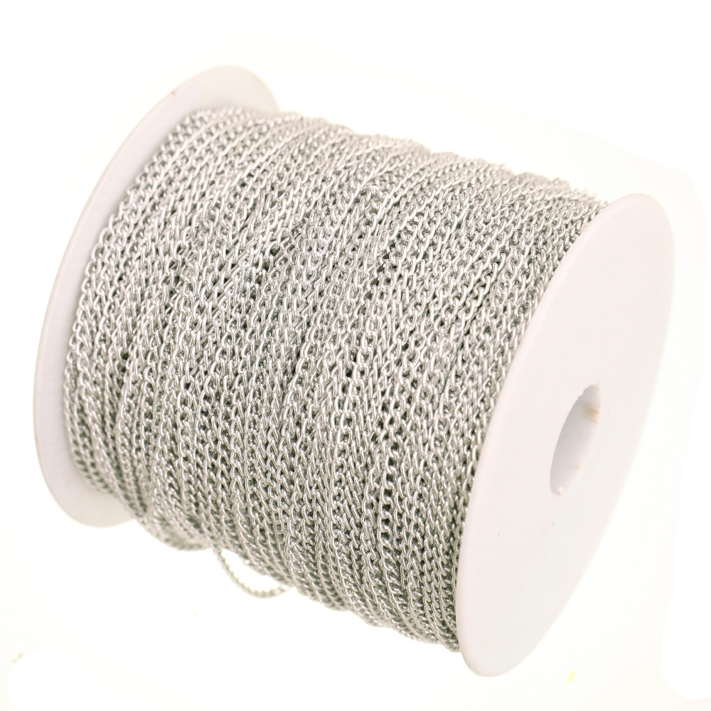 100m in Bulk Plated Silver Cable Chain Findings for Necklace Bracelets Jewelry Making