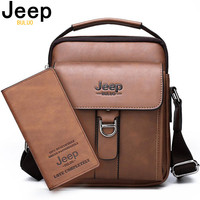 JEEP BULUO Brand New Man's Shoulder Messenger Bag High Quality Leather Crossbody Bags For Men Business Casual Fashion Tote Brown