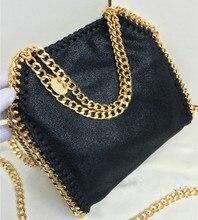 MINI18CM Golden metal chain Top quality black with golden chain Shaggy Deer PVC flap crossbody shoulder bag