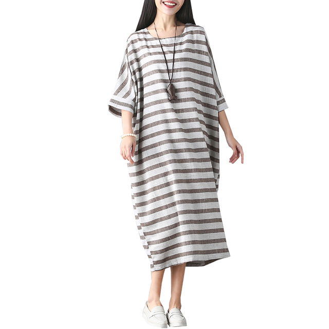 b13d6e5d Vintage Striped Batwing Sleeve Long Robe 2017 Summer Dresses Loose Plus  Size Women Casual Cotton Linen