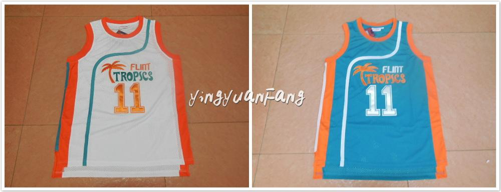 Prix pour YingyuanFang Rétro Basket-Ball Jersey Film Semi Pro #11 ED Monix Silex Tropiques Régression Jersey hommes blanc vert Tous Piqué