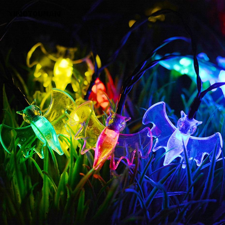 YINGTOUMAN 30 Led Solar Powered Bat Fiber Optic Fairy String Lamp Outdoor Christmas Day Garden Party Decoration Star Light
