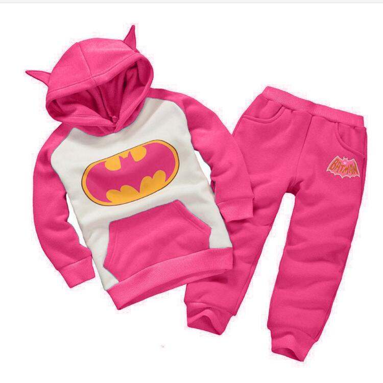 New Batman Girls Clothing Sets Autumn And Spring Casual Cotton Children Clothes Suit Hooded Coat + Pants 2pc Kids Clothing Set