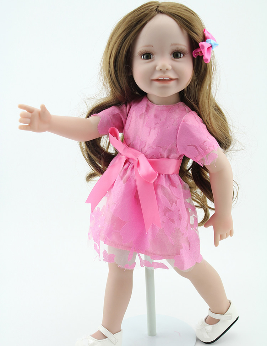 ФОТО 18 inch Full Vinyl Girl Doll Toys Girls Birthday Gift Dolls Alike American Girl Doll in Pink Lace Dress
