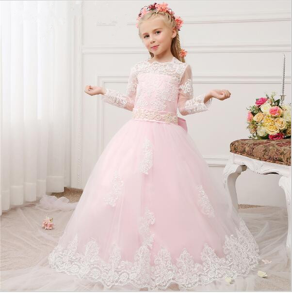 2019 Pink Tulle Flower Girl Dress with White Lace Appliques Bow Long Sleeves Holy First Communion Dress Zipper Back Custom Made