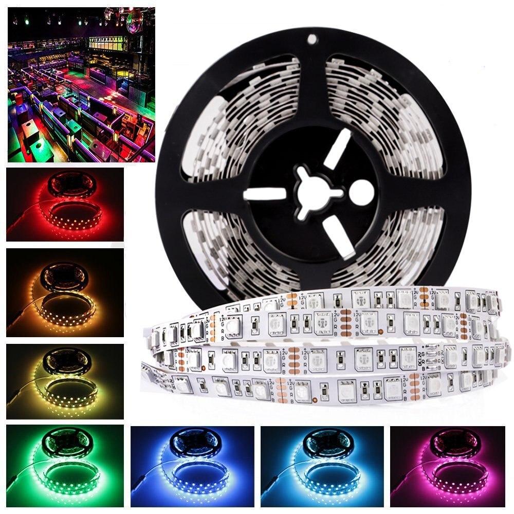5 m 12 V tira de luz Led 5050 RGB blanco cálido impermeable PCB blanco negro 60Led/m DC 12 V cinta Led Strip lámpara diodo de cinta Flexible