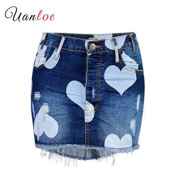 2019 Love Denim Jazz Skirt Heart Print Mini Skirts Tassel Short Blue Ladies Bottoms Streetwear Women Skirt Irregular Stitching