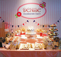 custom Baby Girl Christening Celebration Banner flag striped butterfly photo backdrop Computer print party backgrounds