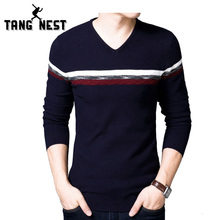 TANGNEST 2017 New Arrival Casual Pull Homme Fashion Patchwork V-Neck Men Sweater Comfortable Long-sleeved Pullover Men MZL719